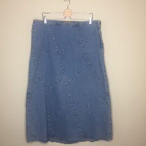 [Isabella Bird] Denim Patchwork Skirt